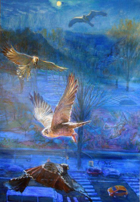 Nightbirds 48 x 34 in oil canvas 2017