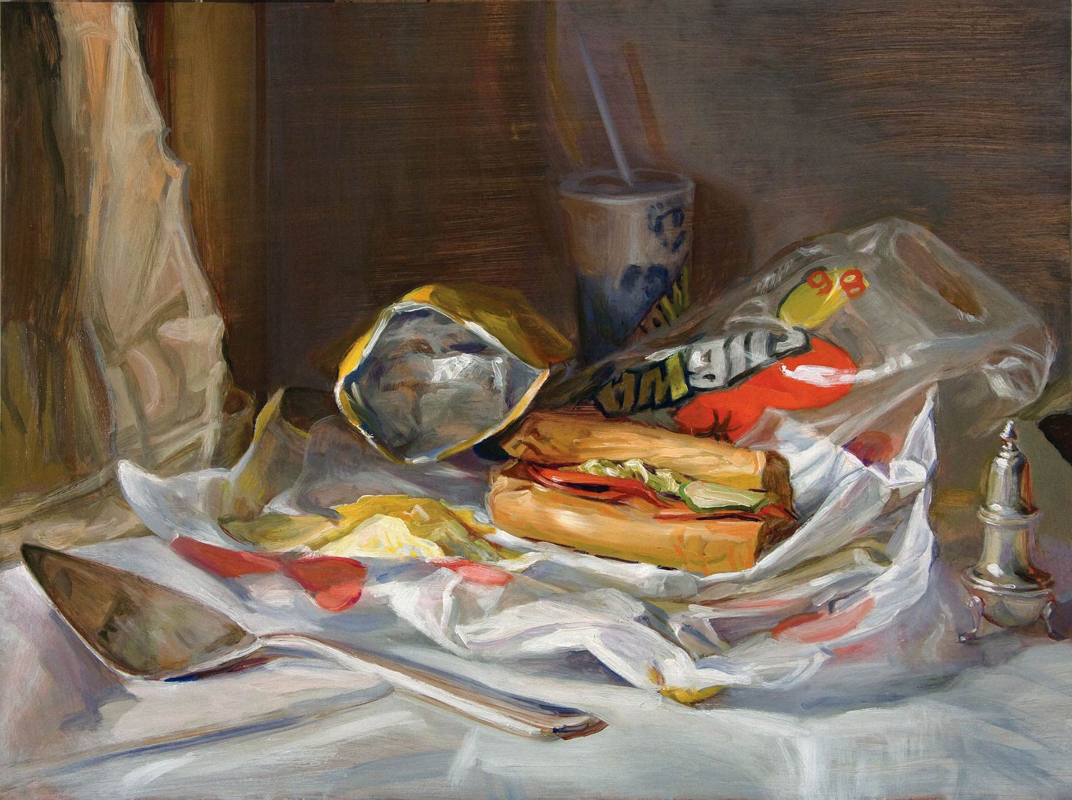 Subway 18 x 24 in oil on copper 2009