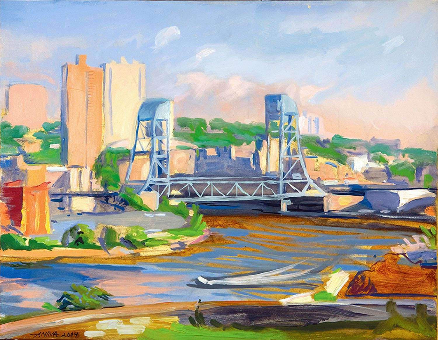 Broadway Bridge 16 x 20 in. oil on wood 2004