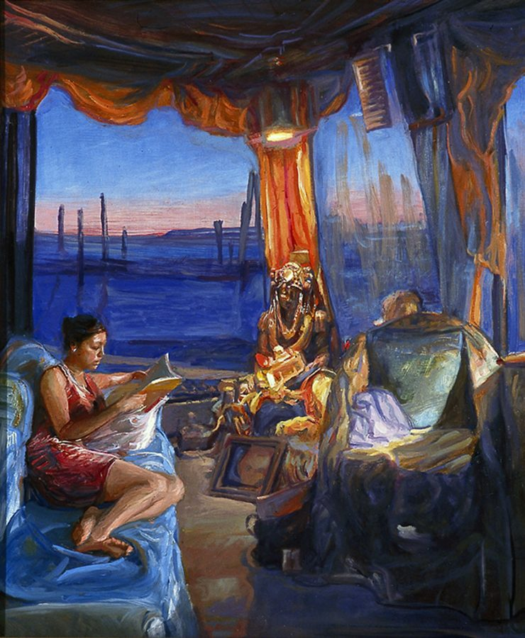 Reading With Buddha 24 x 20 in oil wood 2006