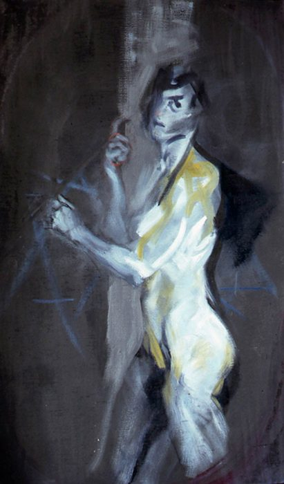 Bacchantes black pole 72 x 36 in oil canvas 1985