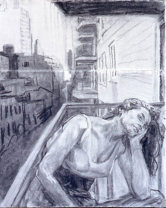 Amy Balcony 24 x 30 in charcoal paper 1999