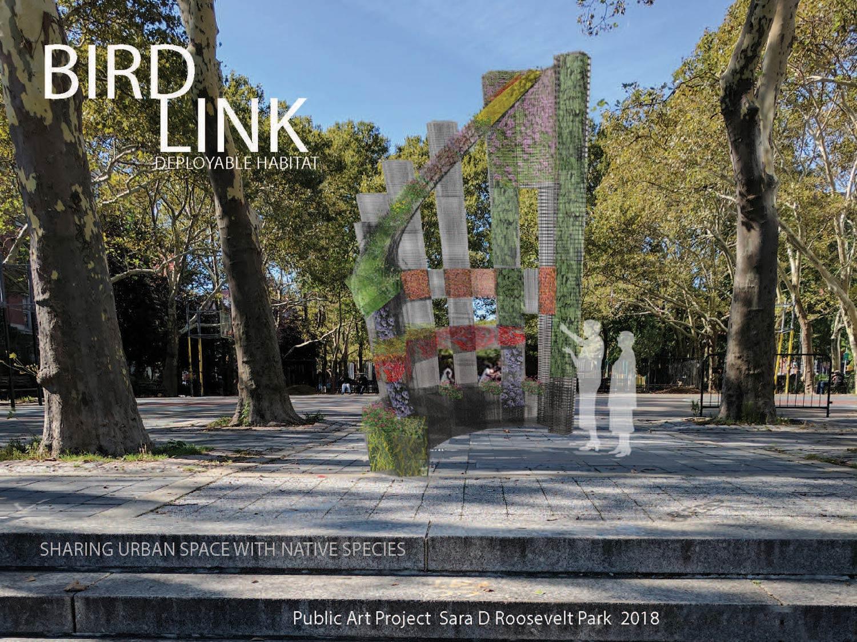 BIRDLINK sculpture 21' x16' x 2' wire, rock, soil, plants 2018