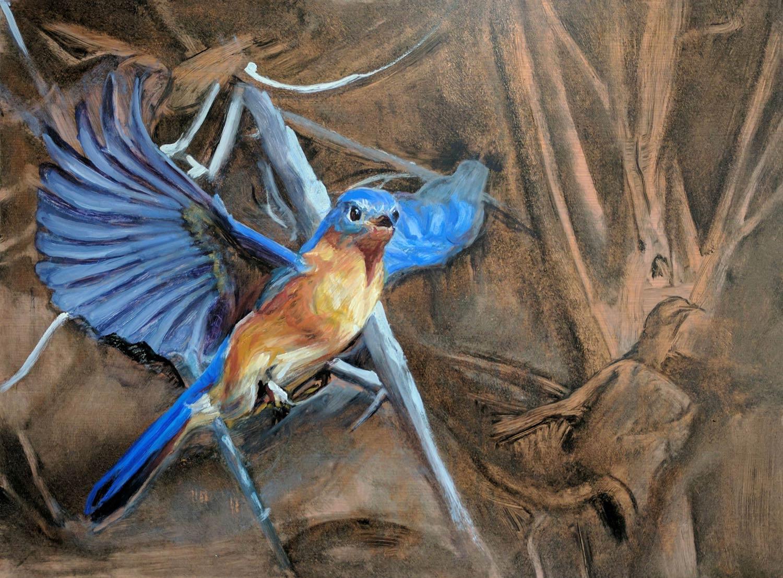 Bluebird 24 x 18 in oil on copper 2016