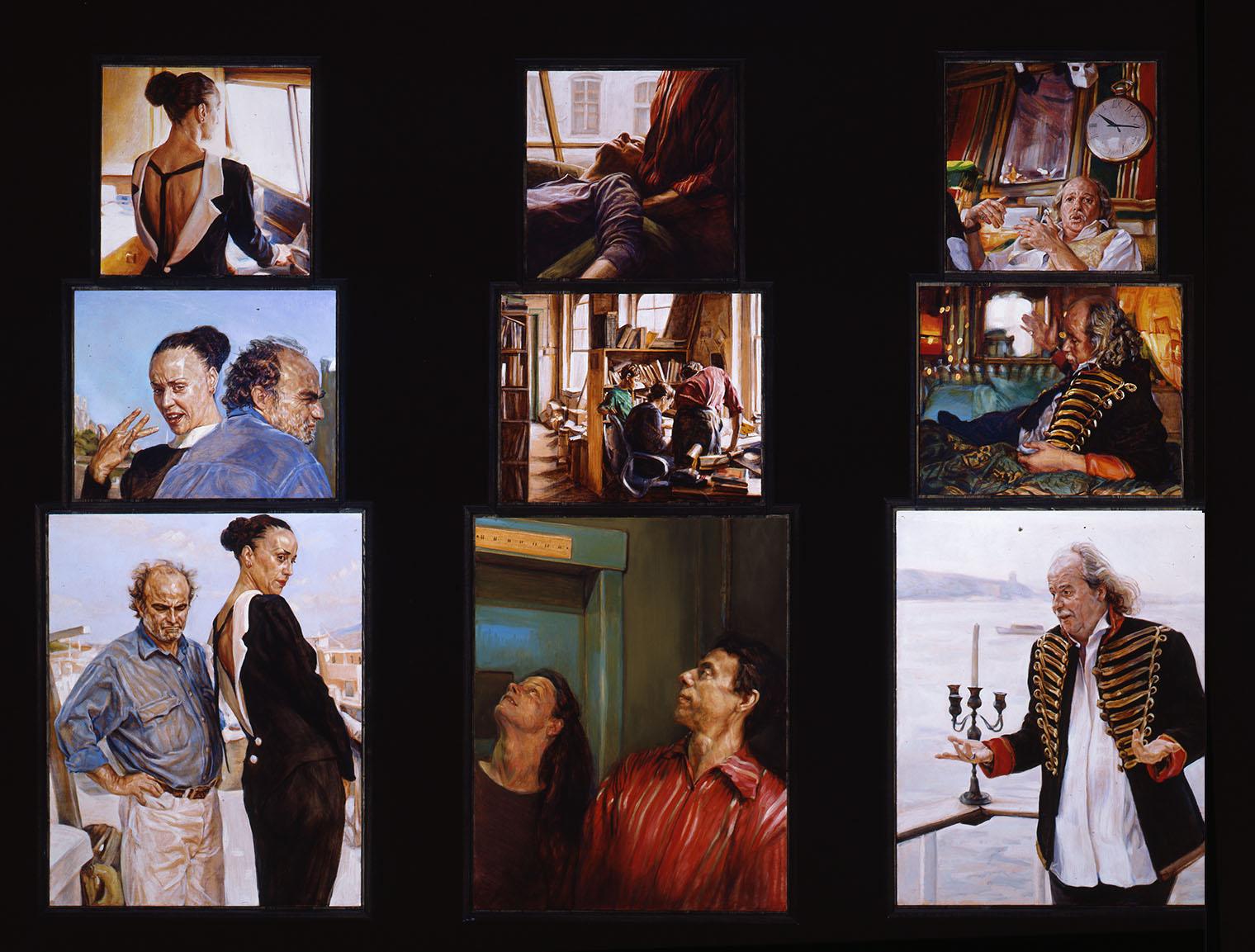 Three Triptychs 30 x 66 in each oil wood 2000