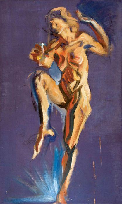 Bacchus Purple 72 x 36 in. oil canvas 1985