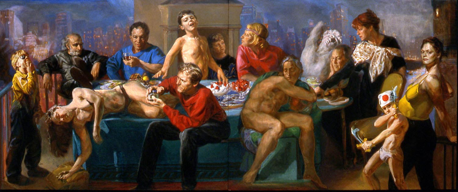 Banquet 144 x 60 in oil on wood 2000