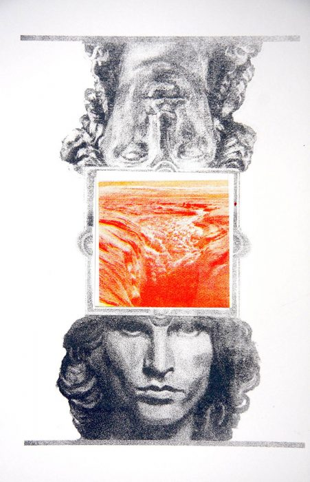 Rock God Stone God red 16 x 12 silkscreen 2011