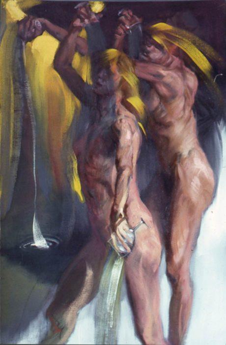 Bacchantes Pours 72 x 36 in oil canvas 1985