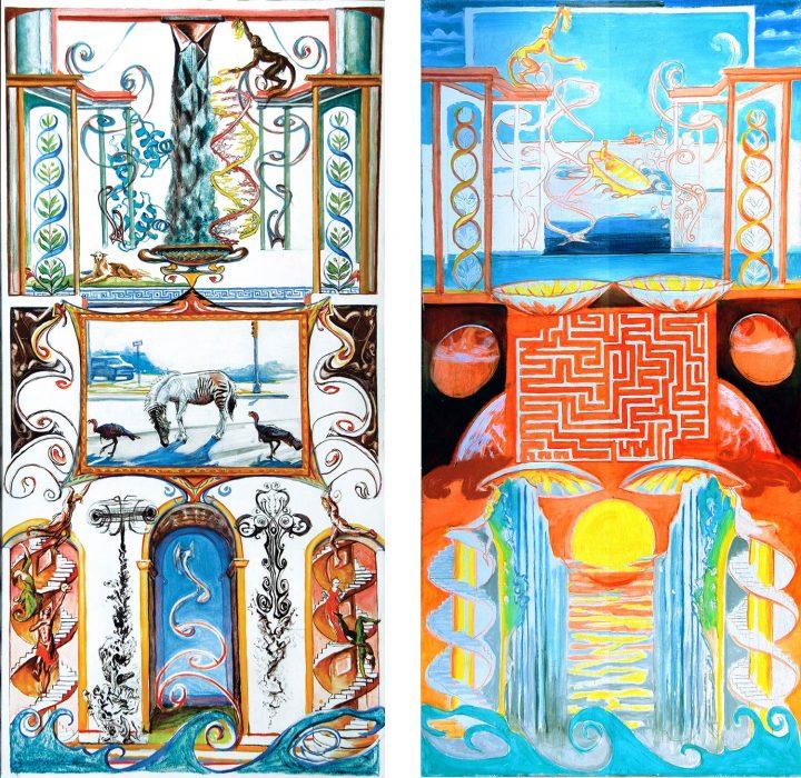 Grotesque-Sun-and-Spiral-48 x 24 each oil canvas 2010