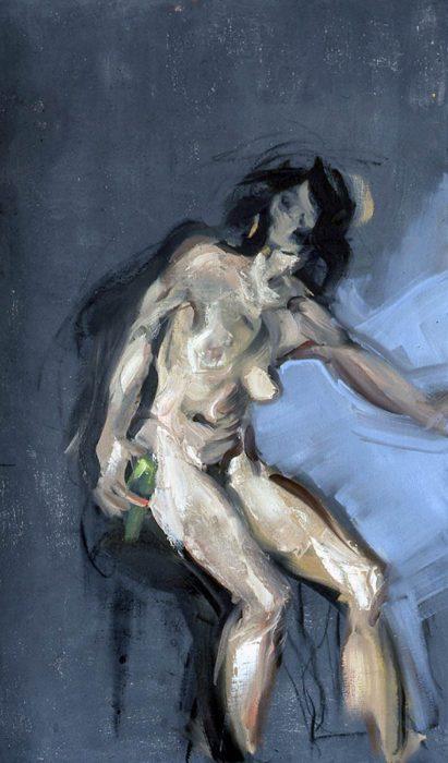 Bacchante dark solo 72 x 36 in oil canvas 1985