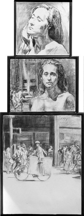 Amy Trip 66 x 30 in. charcoal paper 1999