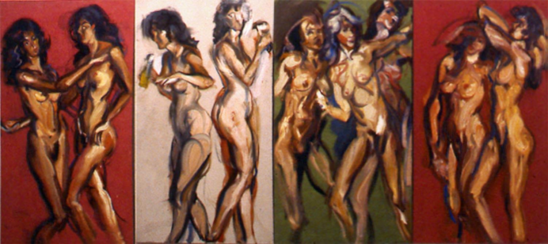 Bacchantes 4 canvas each 72 x 36 in 1985
