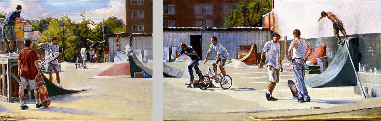 GA Skatepark 26 x 58 in oil canvas 1997