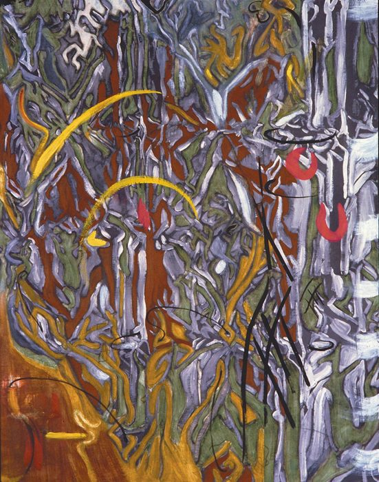 Abstract line 48 x 36 in 72 x 36 in oil canvas 1989